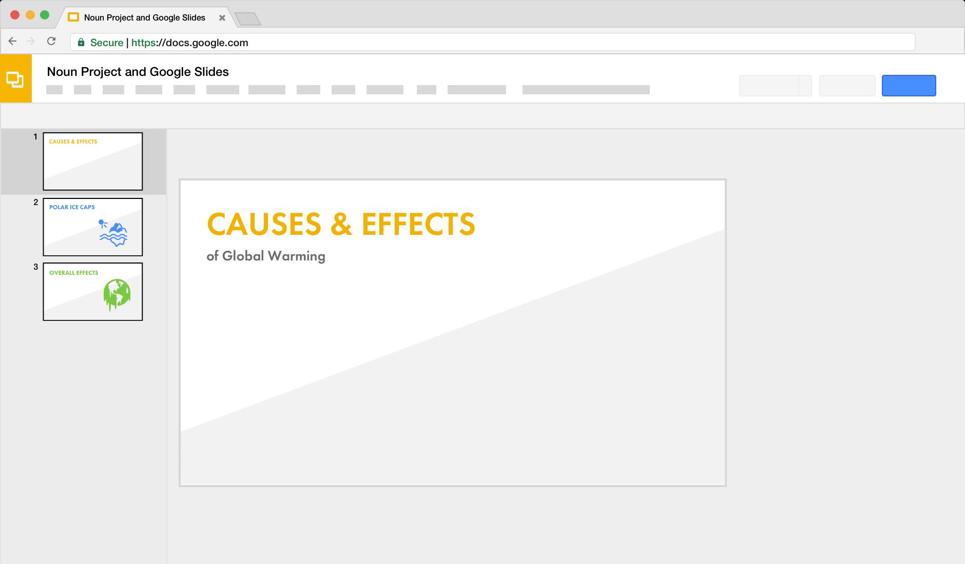 noun project for google slides docs
